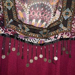 Maroon jeweled/sequined blouse